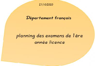 planning des examens de 1ère année licence